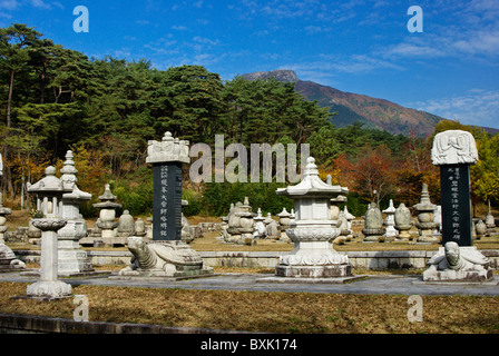 Memorials at Tongdosa Buddhist temple, South Korea - Stock Photo