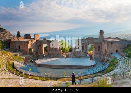 The Greek theatre, Taormina, Sicily, Italy - Stock Photo