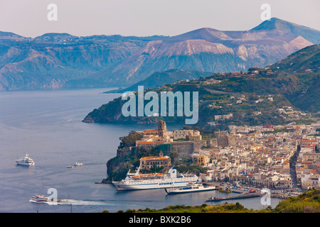 The town of Lipari, Lipari Island, Aeolian Islands, Italy, Europe - Stock Photo