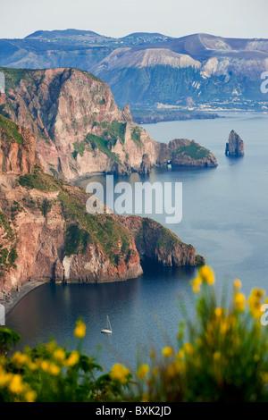 View of Vulcano island from Quattrocchi, Lipari island, Sicily, Italy - Stock Photo