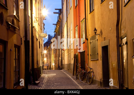Historic old street in Gamla Stan Old Town in Stockholm Sweden - Stock Photo