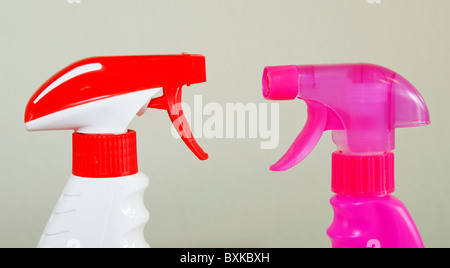 Generic spray bottles usually used for various cleaning products - Stock Photo