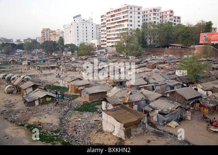 Slums in Ahmedabad, Gujarat. - Stock Photo