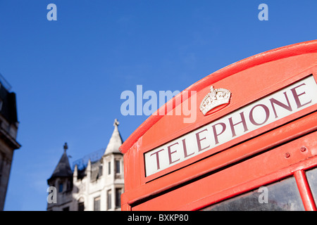 Red telephone box, London - Stock Photo