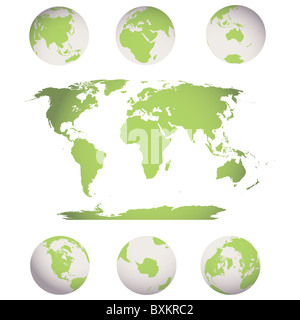 world map and globes - Stock Photo