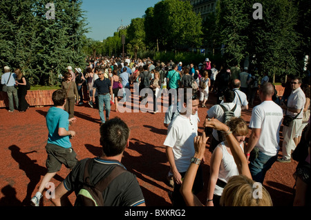 Crowd of Adults Visiting Paris, France, Garden Festival, Champs-Ely-sees Farmer's Event - Stock Photo