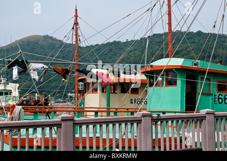 Fishing boats, Tai O village, Lantau island, Hong Kong, China - Stock Photo