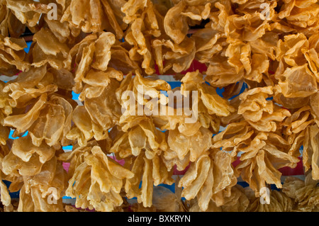 Market stalls with dried seafood, Tai O village, Lantau island, Hong Kong, China - Stock Photo