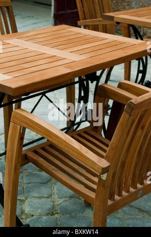 Garden Furniture France paris, france - wooden table garden furniture, patio, terrace