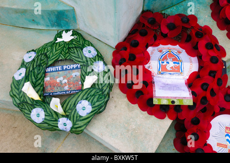 A white poppy wreath next to a conventional red poppy wreath - Stock Photo