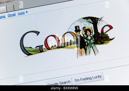 The Google search engine web site front page celebrating Jane Austen's 235th Birthday - Stock Photo
