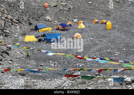 Climbing tents positioned at Everest Base Camp or ebc in Tibet, China. - Stock Photo