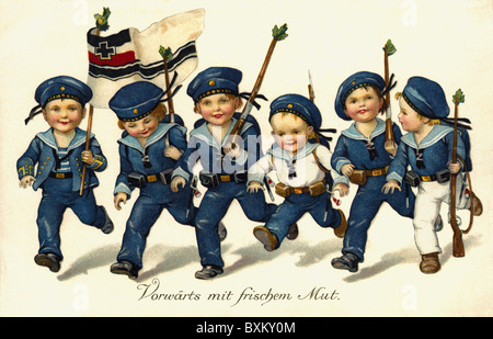 military, navy, propaganda, six boys and girls running with Imperial War Flag, patriotic picture postcard, Germany, - Stock Photo