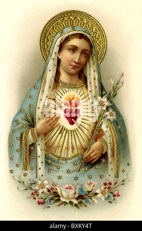religion, Christianity, Sacred Heart of Mary, Saint Mary, Germany, 1910, Additional-Rights-Clearences-Not Available - Stock Photo