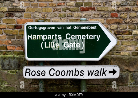 Ieper, Ypres in Belgium. The Ramparts Commonwealth War Graves Cemetery at Lille Gate, Ieper, Belgium. - Stock Photo