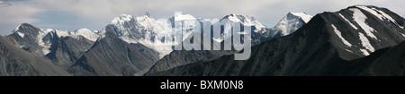 Panorama of Belukha Mountain and the Katun Range in the Altai Mountains, Russia, taken from Karaturek Pass. - Stock Photo