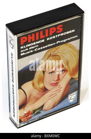 music, audio, Philips compact cassette mit: 'Klingende Kostproben aus dem Musik-Cassetten-Programm', Germany, circa - Stock Photo