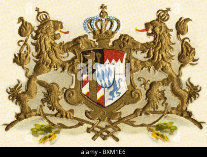 heraldry, coat of arms, Bavaria kingdom, national arms, Germany, lithograph, 1900, Additional-Rights-Clearences - Stock Photo