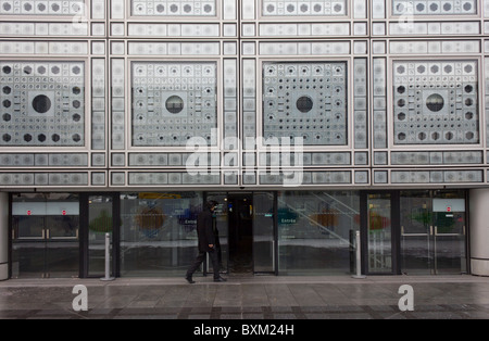 entrance, Institut du Monde Arabe building, Paris, France - Stock Photo