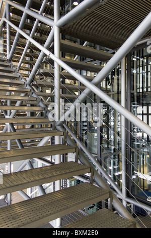staircase, Institut du Monde Arabe building, Paris, France - Stock Photo