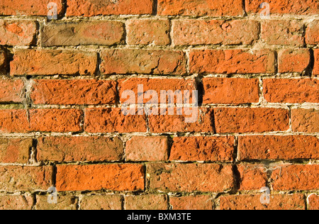 Section of a an 18th Century red brick wall. - Stock Photo