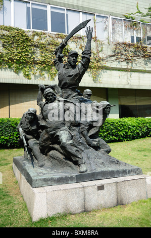 Sculpture of the Chinese people's liberation army soldiers - Stock Photo