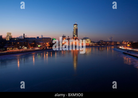Panoramic view of the Swissotel Red Hills,  the Moscow International House of Music and Paveletsky Tower in Moscow, - Stock Photo