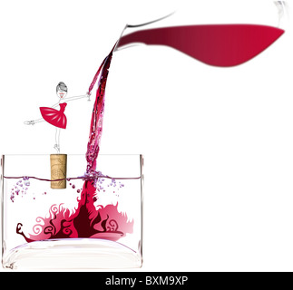 A ballerina holding a wine glass and balancing on a cork gets wine which is being poured from a wine decanter - Stock Photo