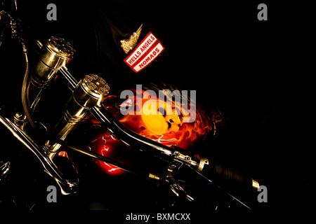Hells Angels custom chopper - Stock Photo