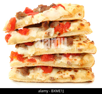 Five pieces of white sauce tomato burger pizza stacked over white. - Stock Photo