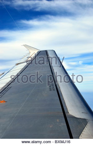 detail of the wing of an airplane in flight - Stock Photo