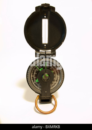 TOA lensatic fluid compass with lid cover - Stock Photo