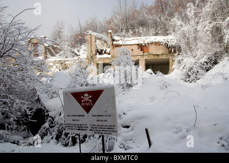 A building in Germia Park, a public area outside Prishtina in Kosovo, destroyed during the 1999 conflict with Serbia. - Stock Photo