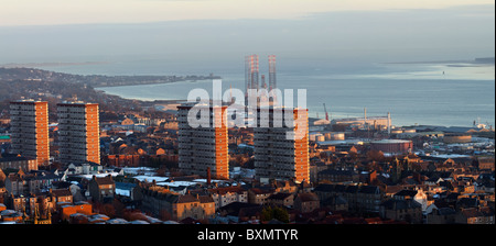 Landscape Panaroma of the Scottish City of Dundee   River Tay and Estuary   High rise buildings & CBD from Dundee - Stock Photo