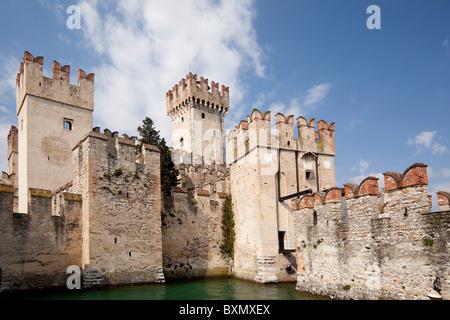 Castello Scaligero in Sirmione on Lake Garda Lombardy - Stock Photo