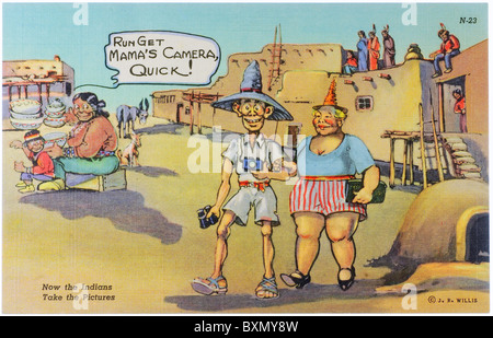 Vintage comic post card of Native American humor regarding tastelessly dressed white tourists by JR Willis - Stock Photo