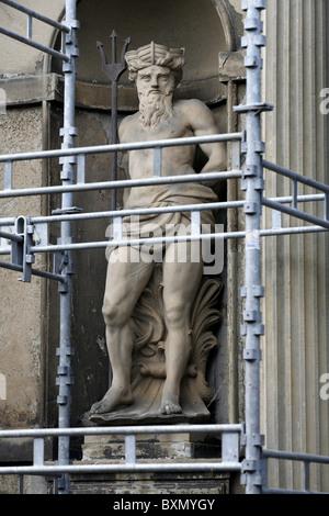 Neptune Statue, Fireportegården, The Four-Gate Court, Kronborg Castle, Helsingør, Zealand, Denmark - Stock Photo