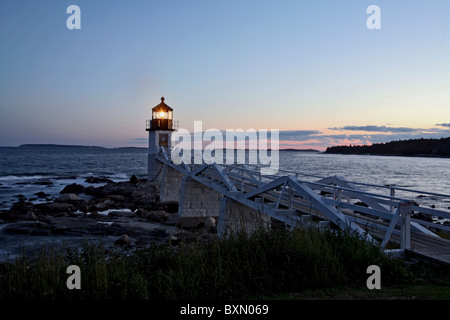 Port Clyde's Marshall Point Lighthouse is one of many that dot the coastline of Maine, USA - Stock Photo