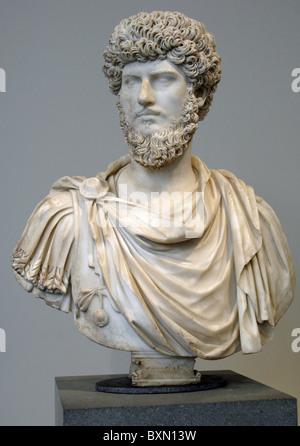 Lucius Verus Augustus. (130-169). Roman Emperor (161-169). Roman marble bust. Antonine period. - Stock Photo