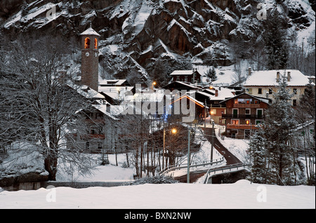 Panoramic view over the mountain village of Macugnaga at dawn, Piemonte, Italy - Stock Photo