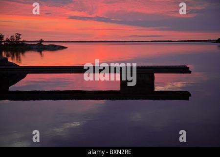 Summer sunset in the 'Archipelago of Stockholm', Sweden. - Stock Photo