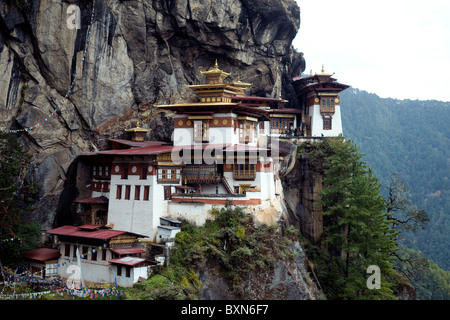 Tiger's Nest, or Taktsang, a Buddhist monastery spectacularly located high on a cliff face in Bhutan - Stock Photo