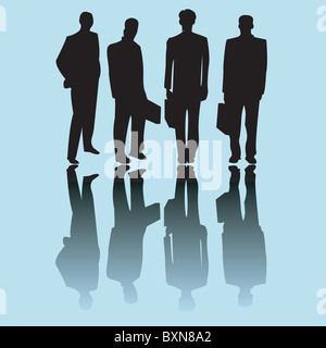Business man silhouettes - Stock Photo