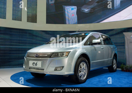 BYD E6 electric car at the 2010 North American International Auto Show in Detroit - Stock Photo