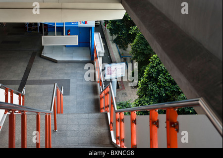 Skytrain station at Victoria Monument in Bangkok. - Stock Photo