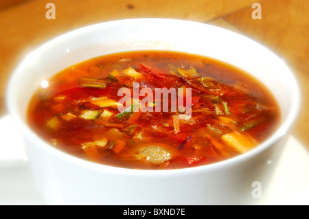 The minestrone soup in white cup - Stock Photo