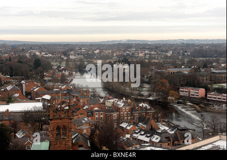 View from the Chester Wheel towards the River Dee - Stock Photo