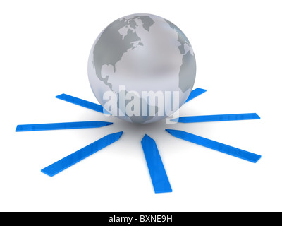 Globe over white background - Stock Photo
