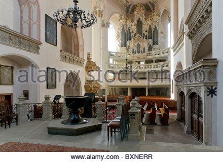 Altar and organ in the town church of St Wenceslas, Wenceslas Church, Naumburg, Saxony-Anhalt, Germany, Europe - Stock Photo