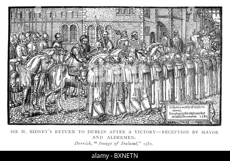 Sir Henry Sidney's Return to Dublin After a Victory-Reception by the Mayor and Aldermen from 'Image of Irelande' - Stock Photo